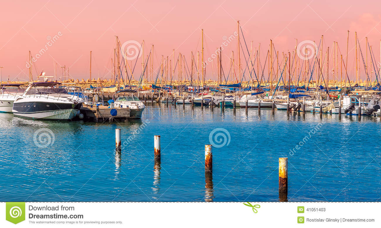 Yachts And Boats On Marina In Ashkelon  Stock Image - Image