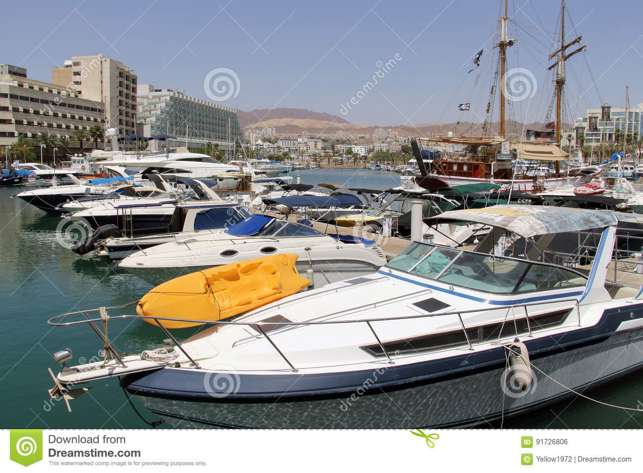 Yachts and boats in marina of Eilat.