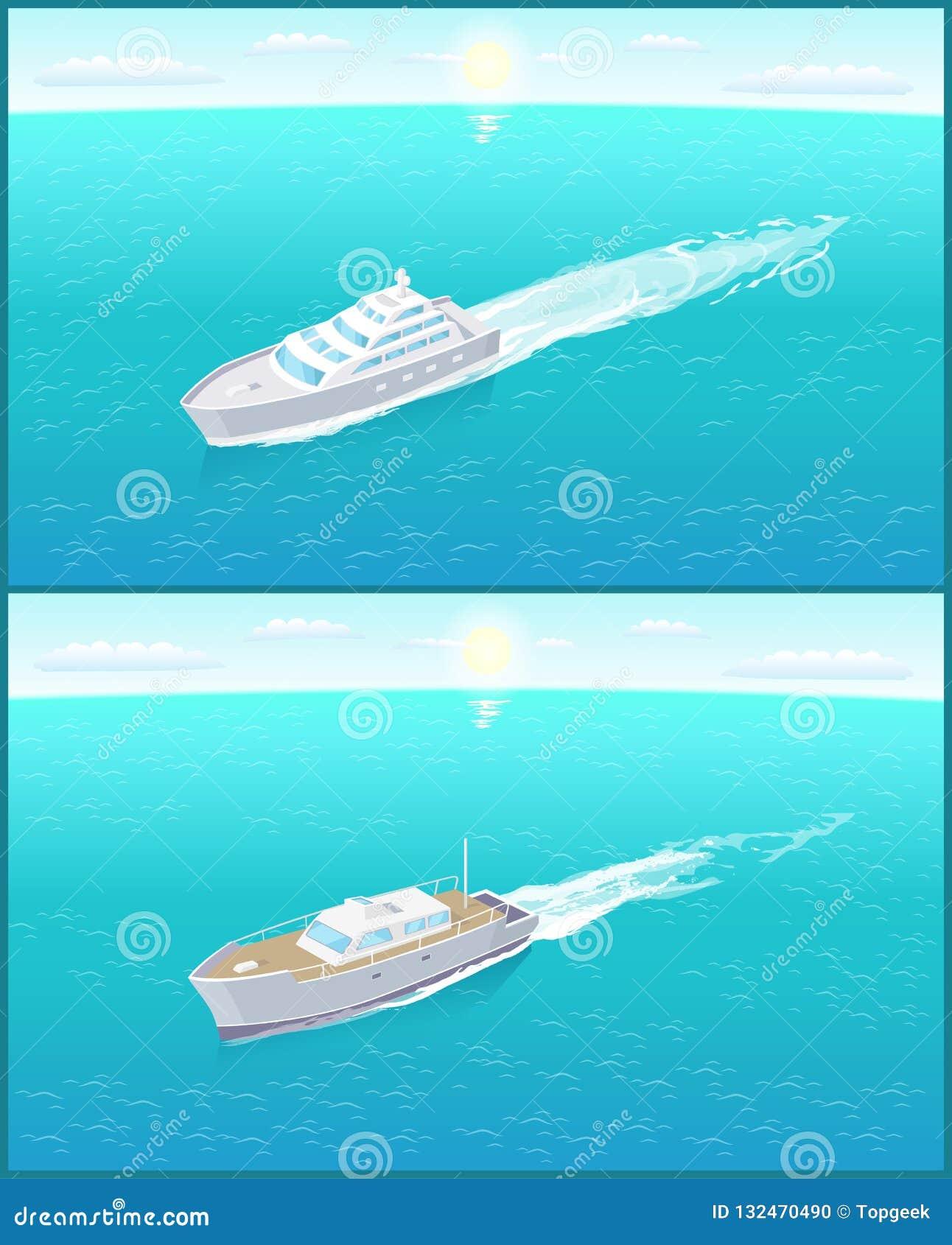Yachts modernes Marine Nautical Personal Ship Icons