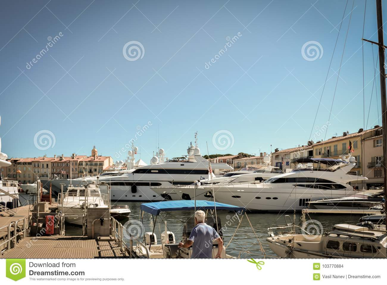 Yachts On The Port Of Saint Tropez Editorial Stock Image Image Of