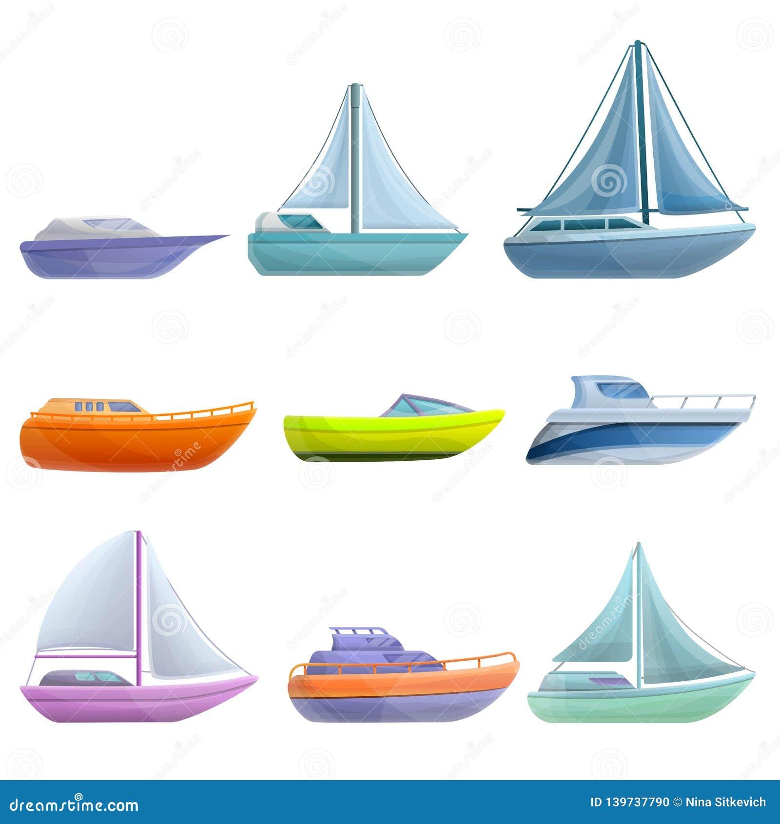 Yachtsymboler uppsättning, tecknad filmstil