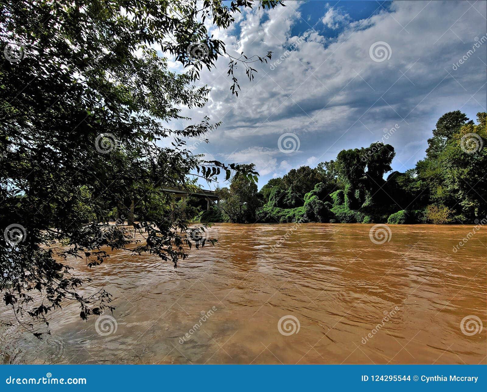 Yadkin flod nära Winston-Salem, North Carolina
