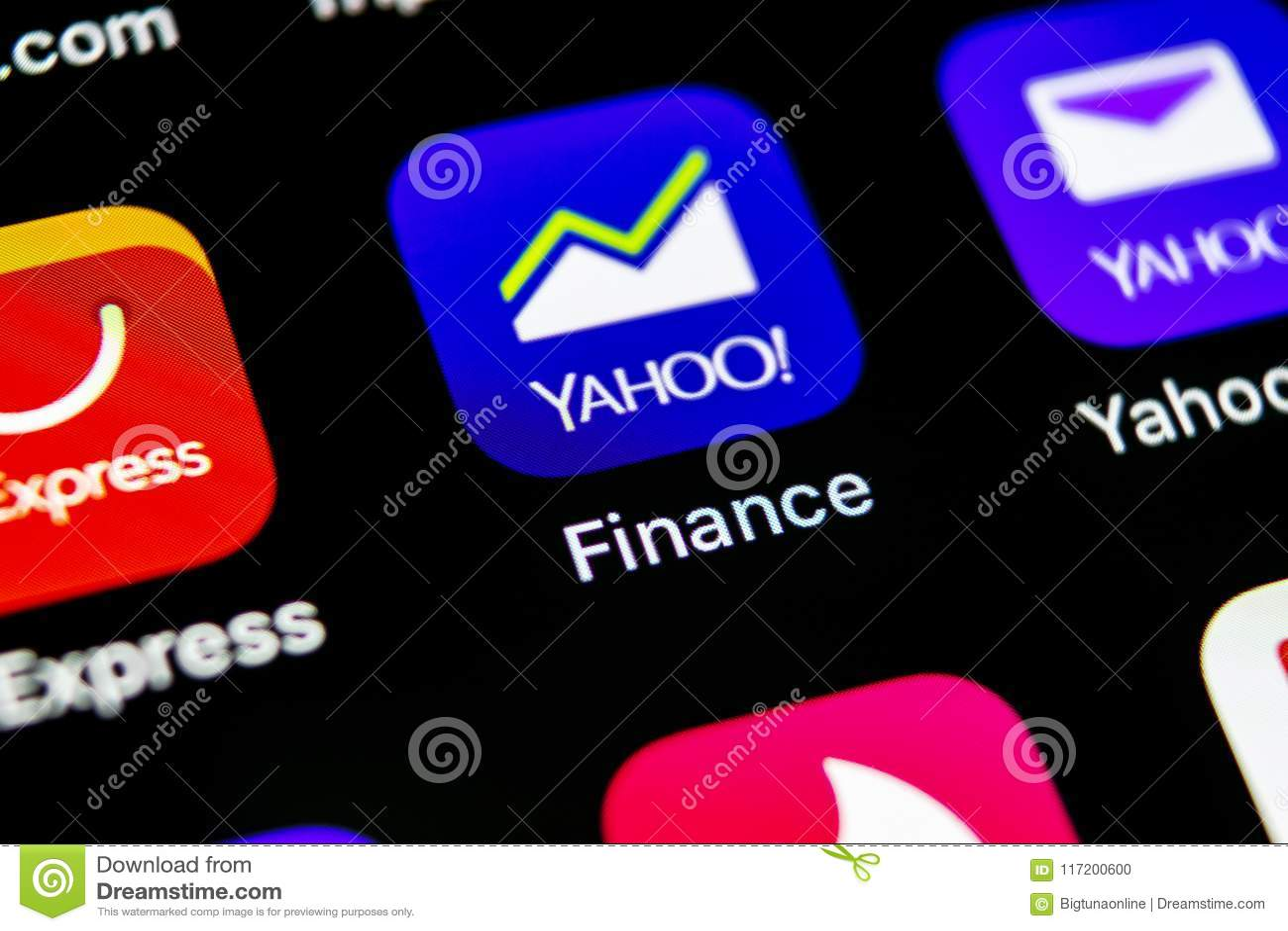 Yahoo Finance Application Icon On Apple Iphone X Smartphone Screen