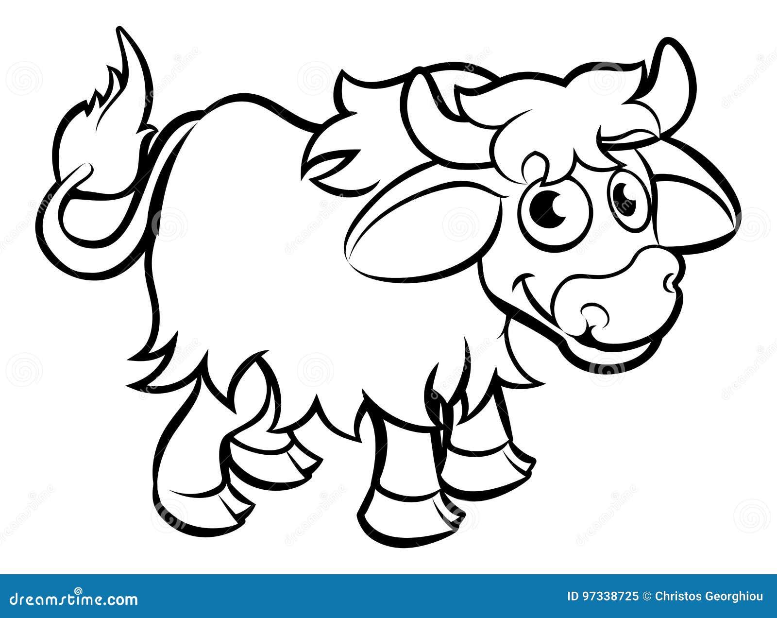 Yak Cartoon Character Stock Vector Illustration Of Children 97338725