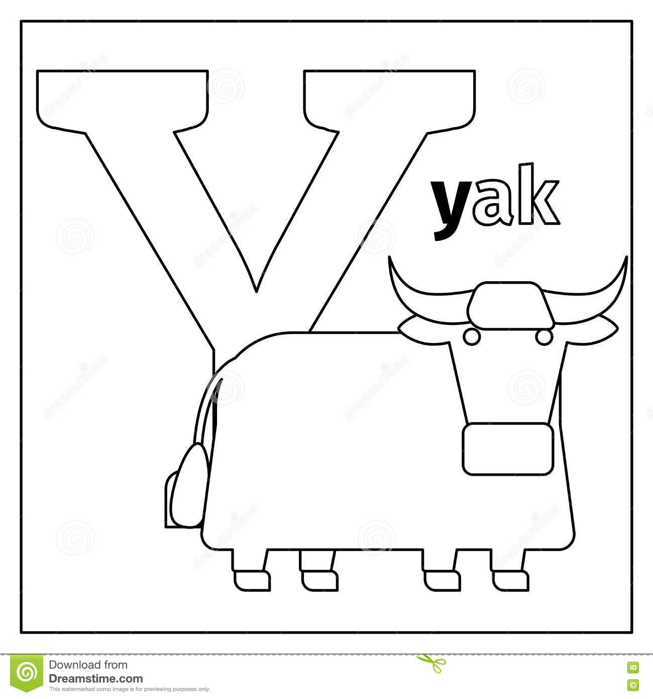 Yak, Letter Y Coloring Page Stock Vector - Illustration of letter ...