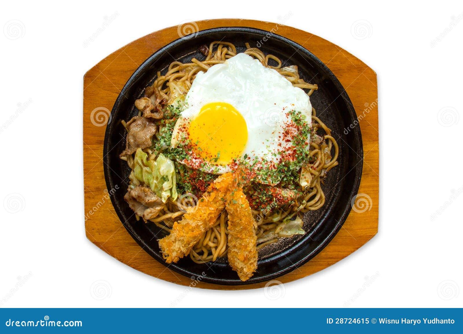 Yakisoba, Japanese Fried Noodles Royalty Free Stock Photo - Image ...