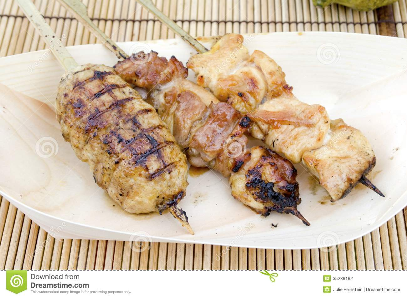 Yakitori meats skewered and grilled Japanese style.