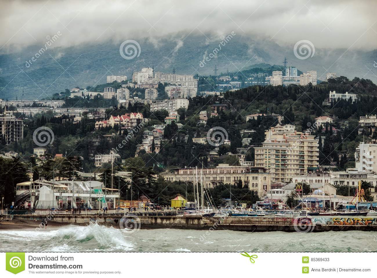 Yalta City View From The Sea Editorial Stock Photo - Image ...