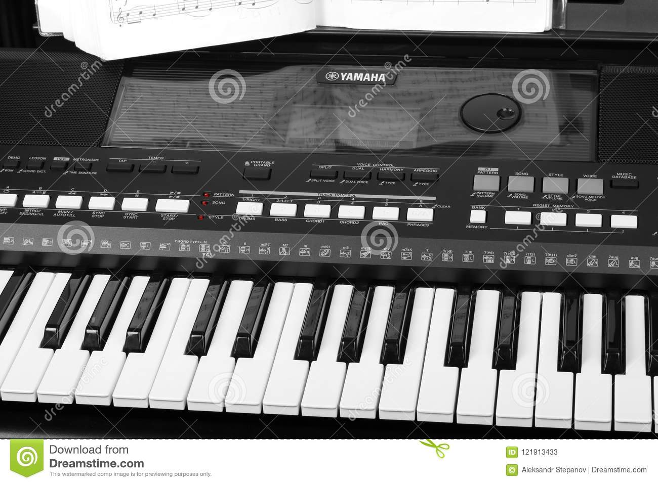 Yamaha Synthesizer With Musical Notes Close-up  Music Learning
