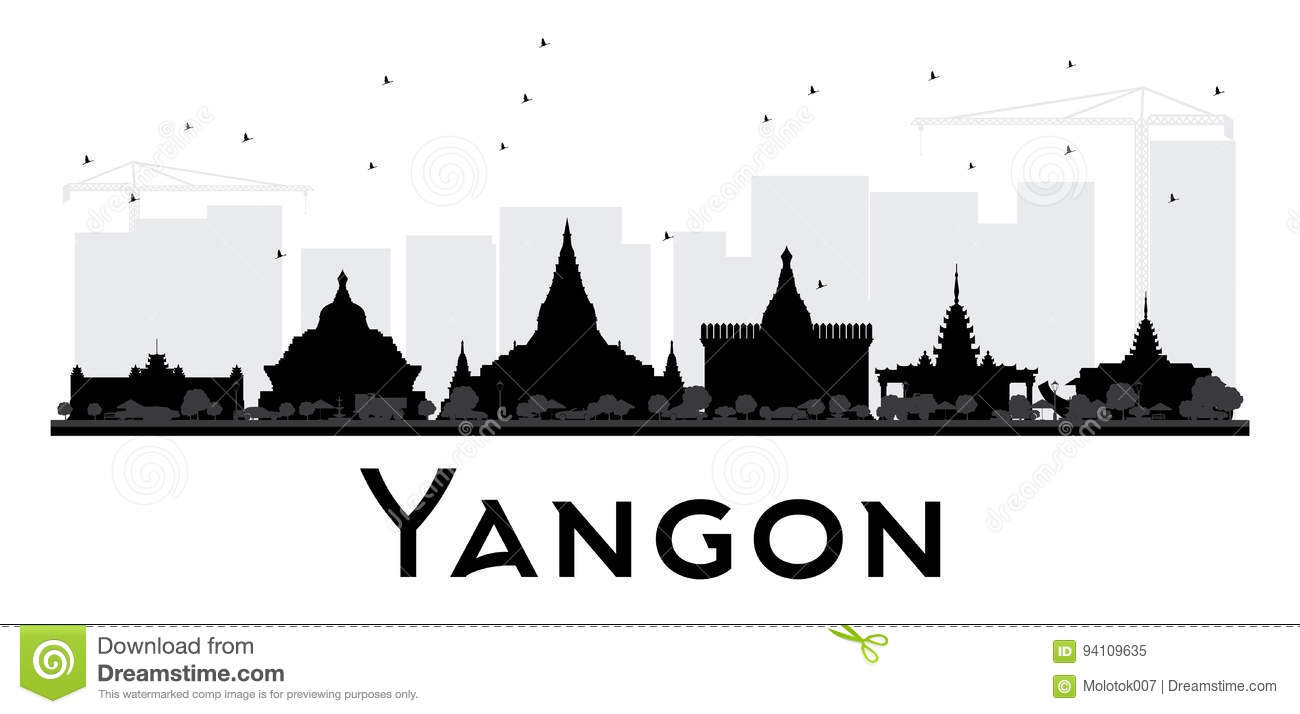 Yangon City Skyline Black And White Silhouette Simple Flat Concept For Tourism Presentation Banner
