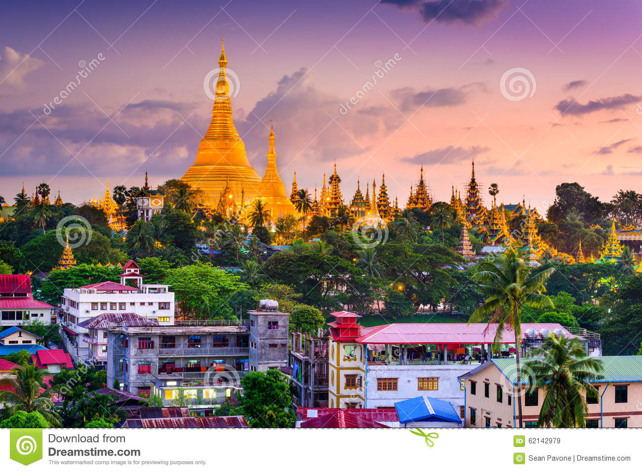 Yangon Skyline Stock Photo - Image: 62142979