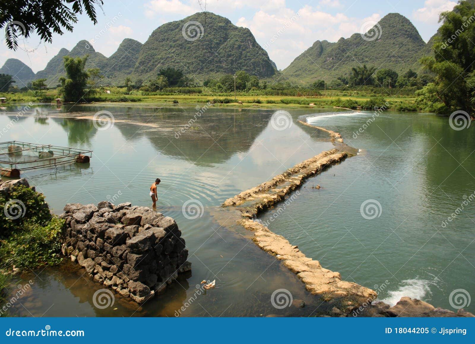 Yangshou пейзажа фарфора сельское