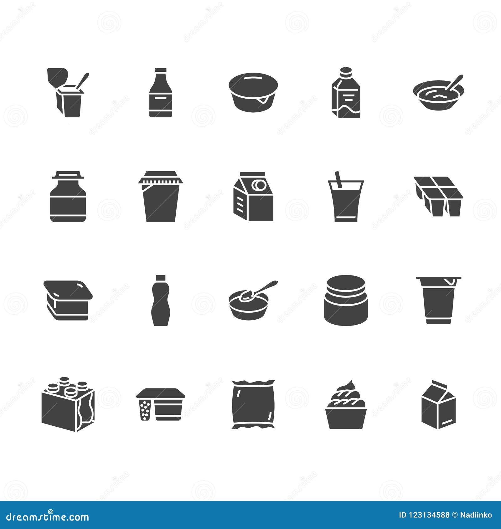 Yaourt empaquetant les icônes plates de vecteur de glyph Laitages - bouteille à lait, crème sure, képhir, illustrations de fromag