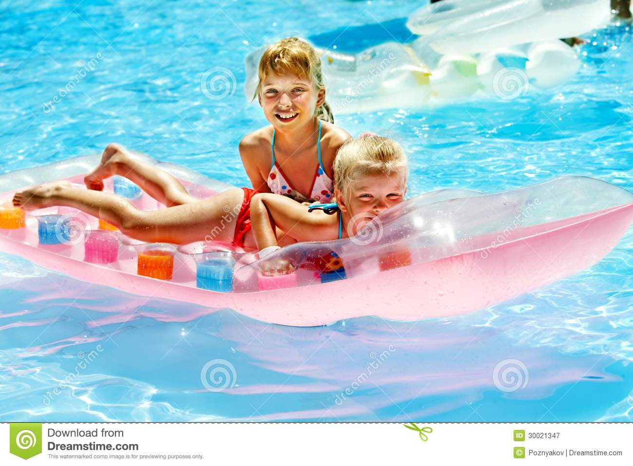 Royalty free stock photography children swimming on inflatable beach
