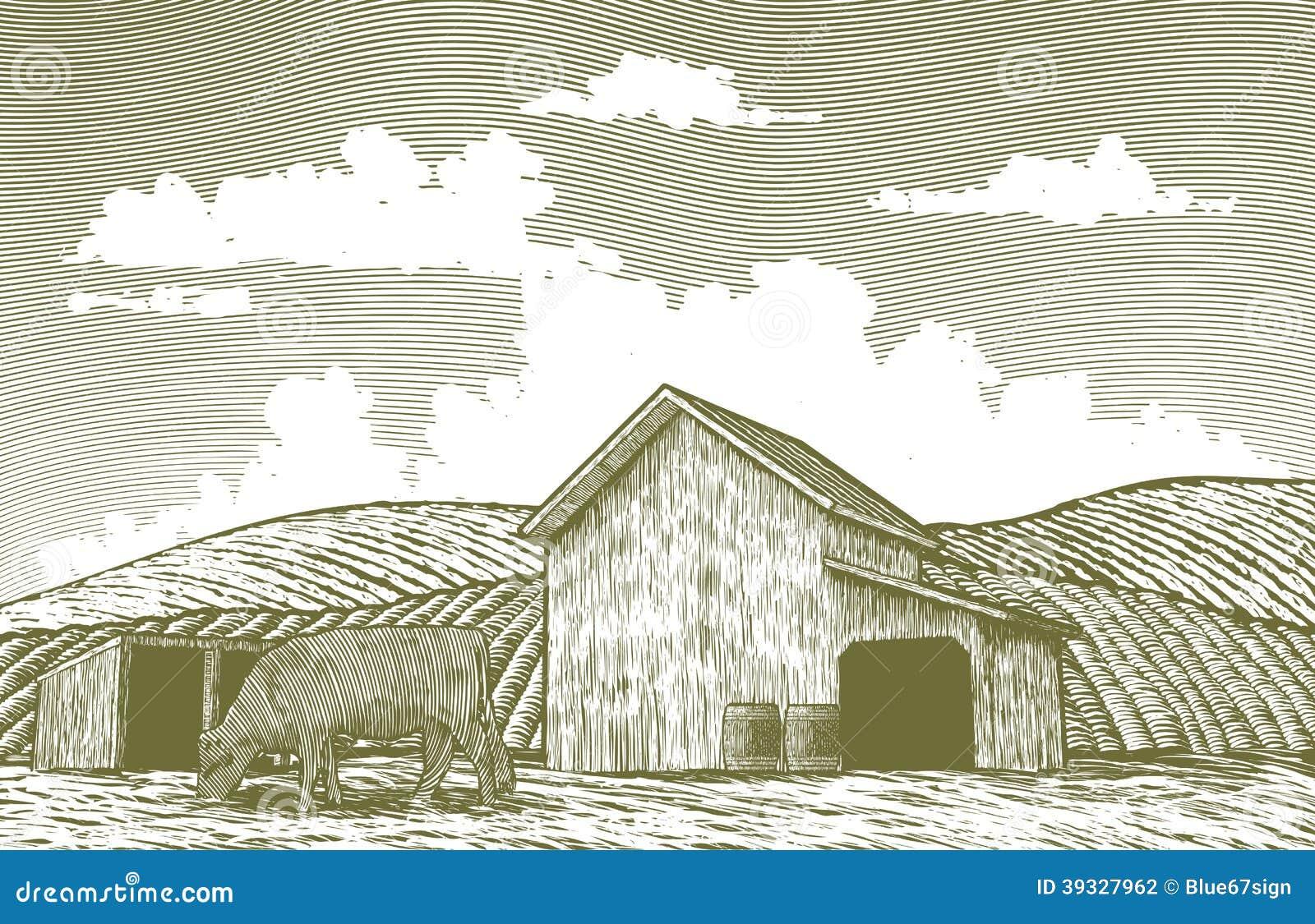 Yard de grange de gravure sur bois