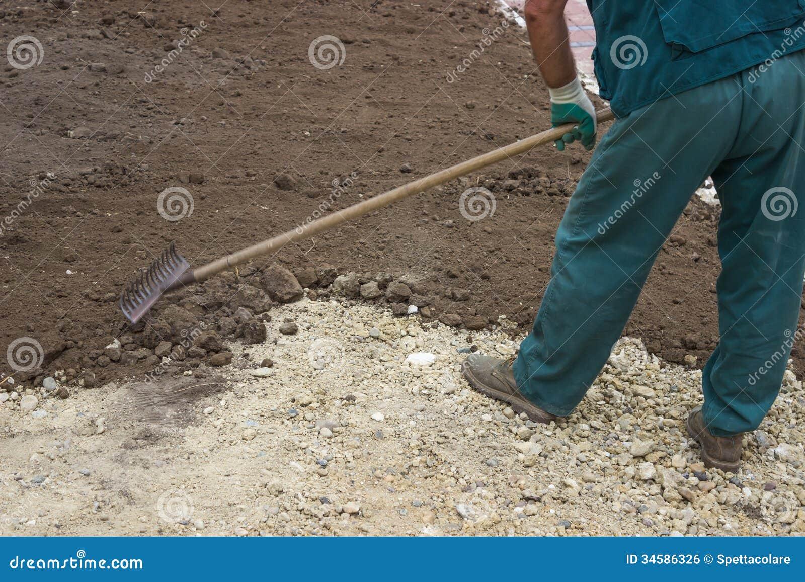 Raised Bed Gardening Plans Yard Leveling Work 2 stock photo. Image of fertilize ...