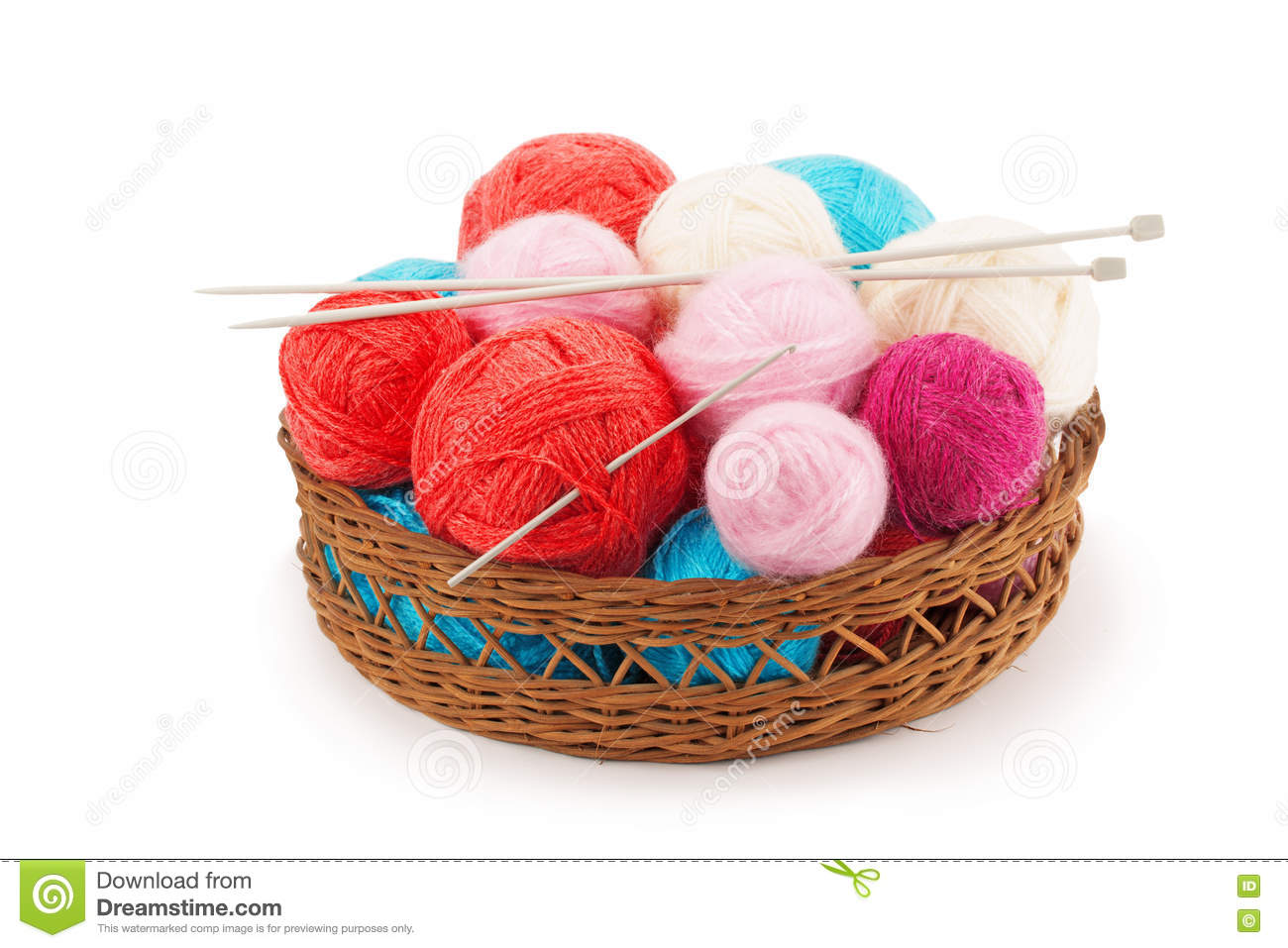 Knitting Basket Yarn : Yarn balls and knitting needles stock photo image