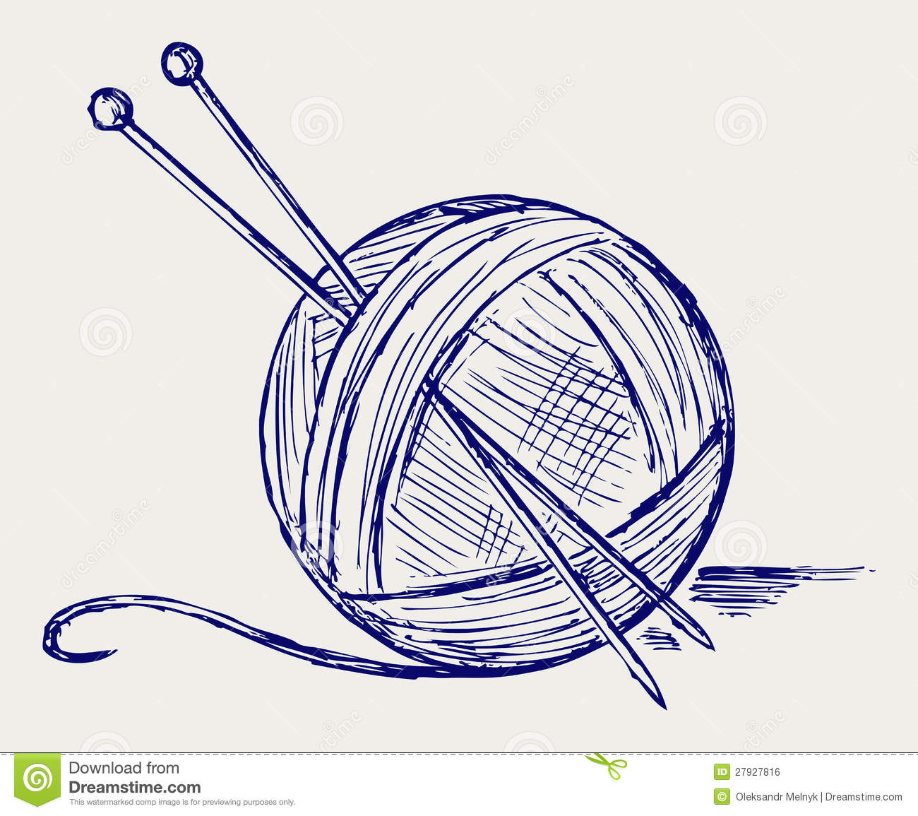 Drawing Knitting Needles : Yarn balls with needles stock vector illustration of