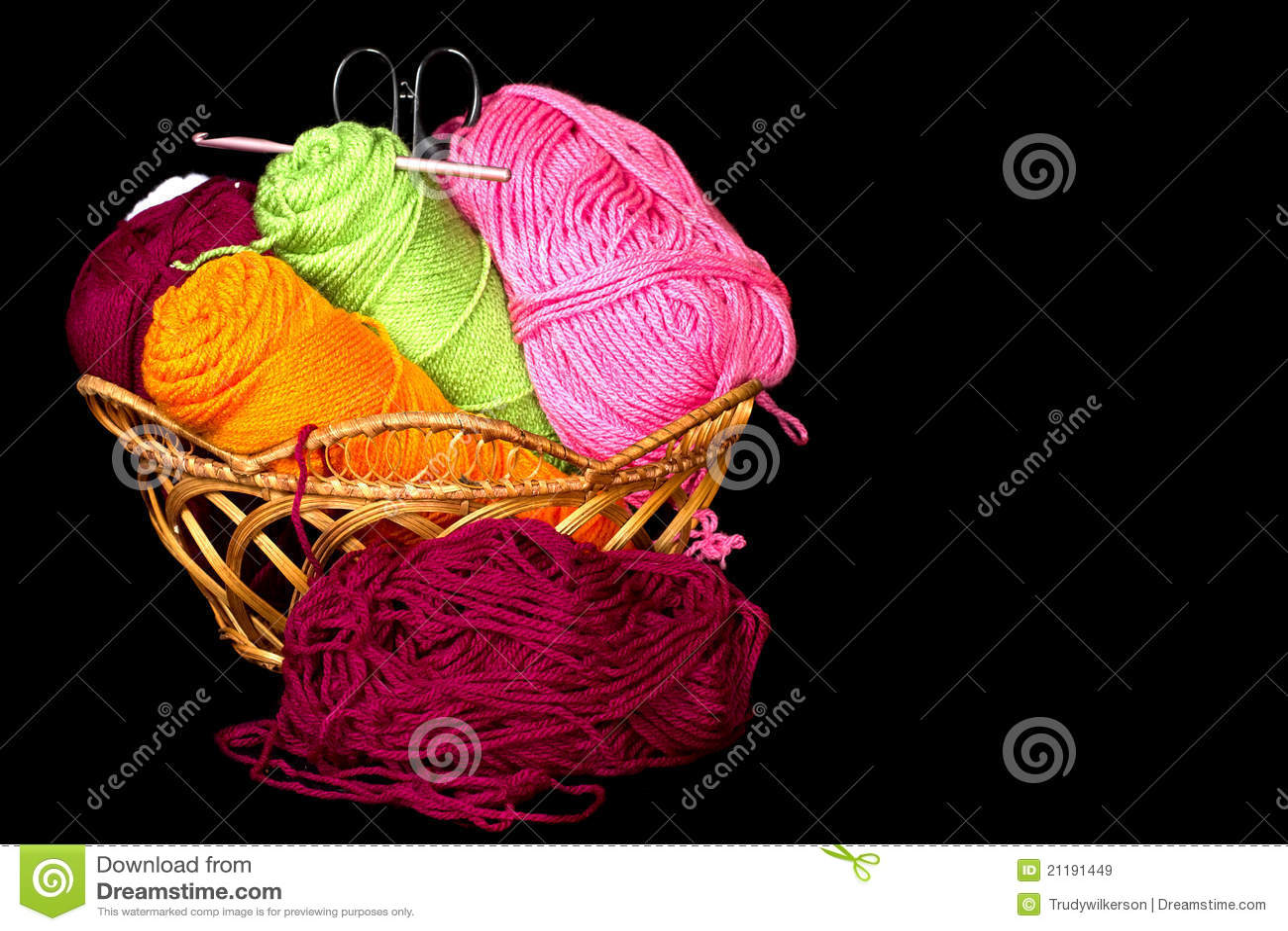 Yarn in Basket Closeup