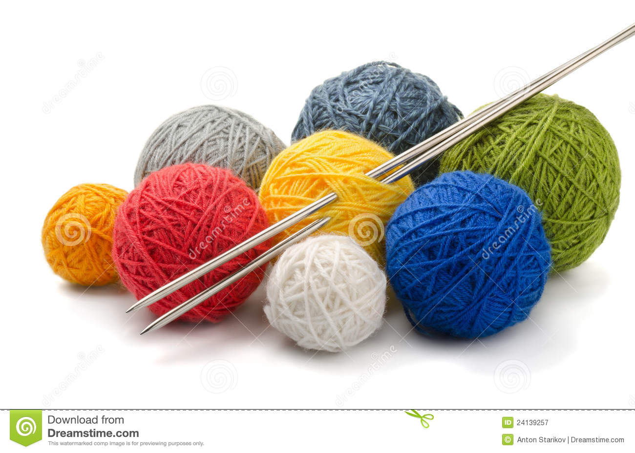 Crocheting Needles And Yarn : Yarn And Needles Royalty Free Stock Photography - Image: 24139257