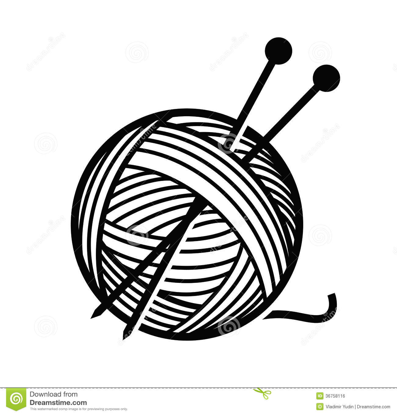 Yarn Clipart Black And White Yarn and needles stock...