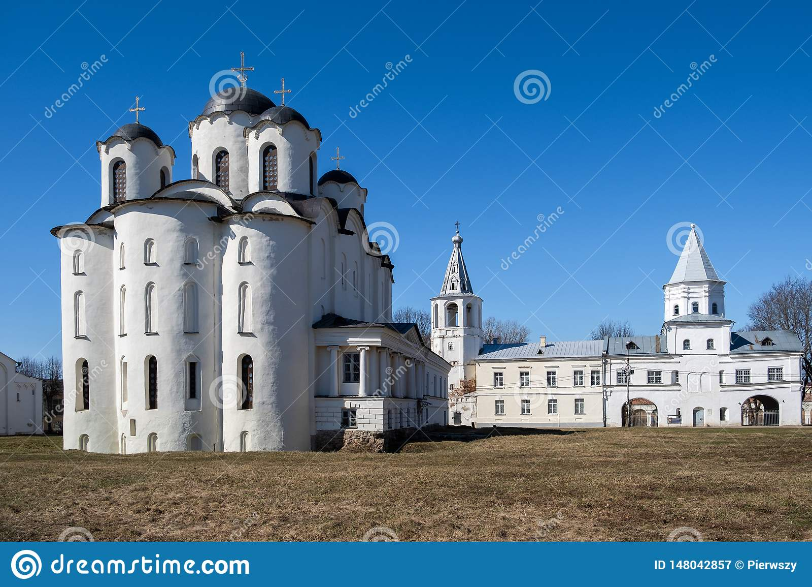 Yaroslav`s Court in Veliky Novgorod. Nikolo-Dvorishchensky Cathedral, an important historical tourist site of Russia
