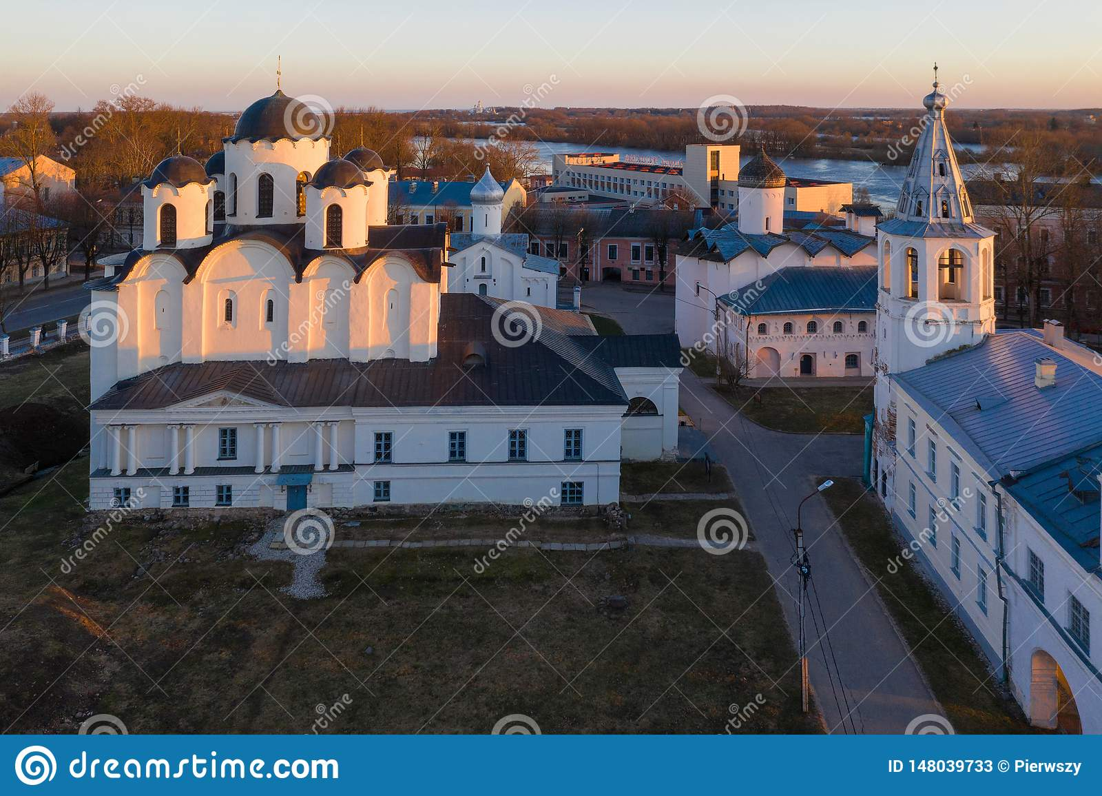 Yaroslav s Court in Veliky Novgorod. Nikolo-Dvorishchensky Cathedral, an important historical tourist site of Russia, aerial view