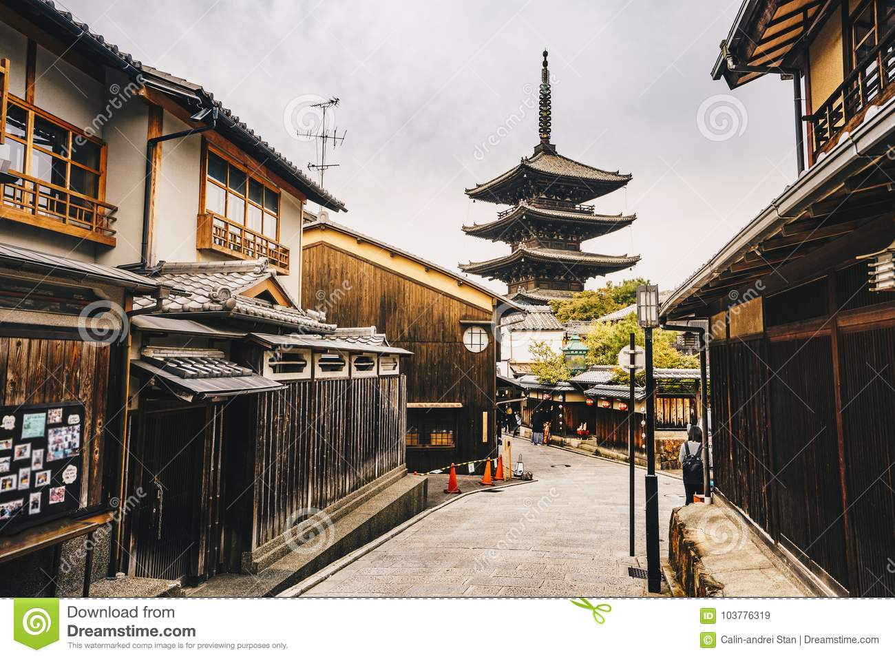 Yasaka Pagoda and Sannen Zaka Street in Kyoto old city in Higas
