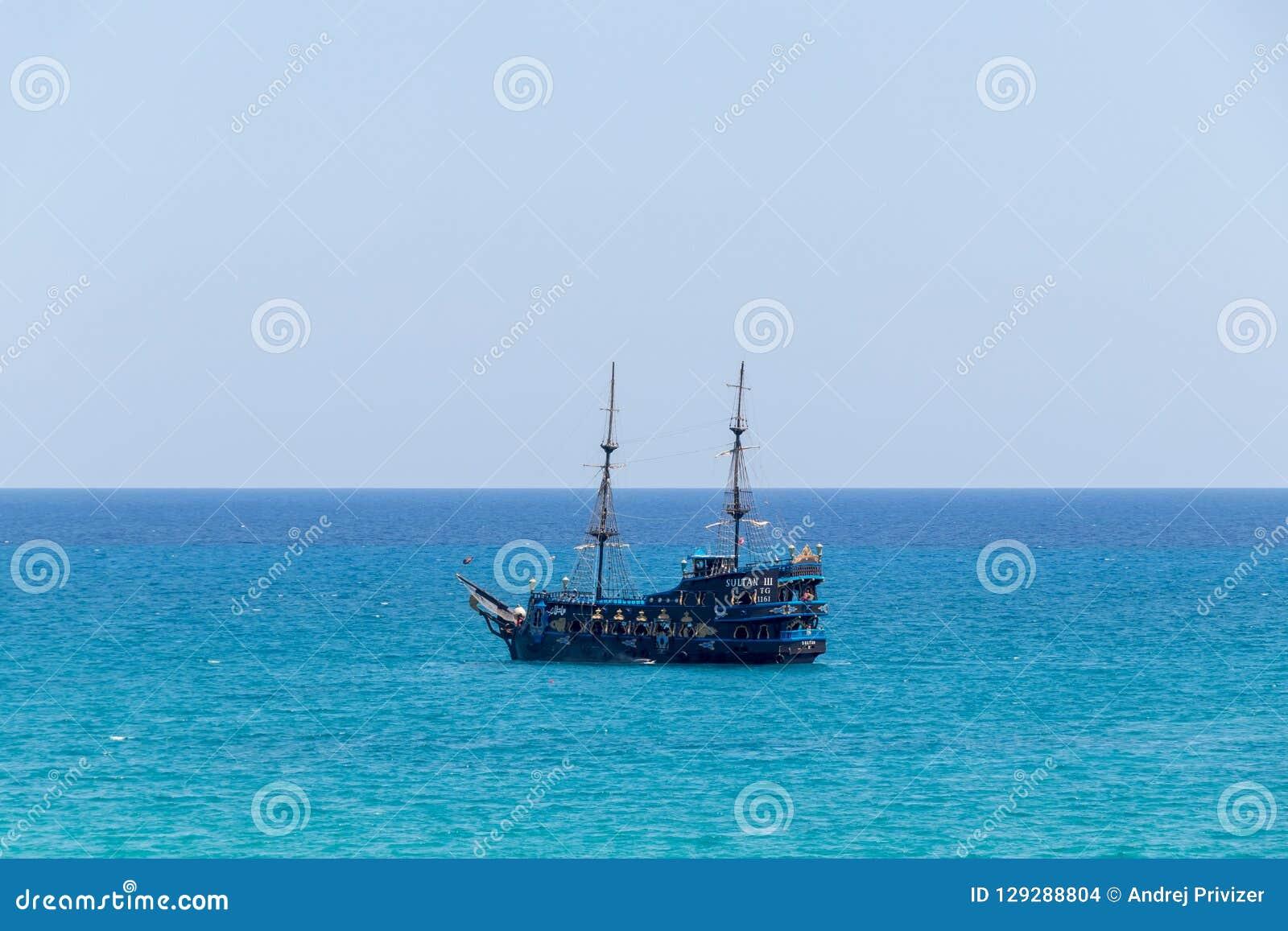 Pirate ship in the Mediterranean Sea