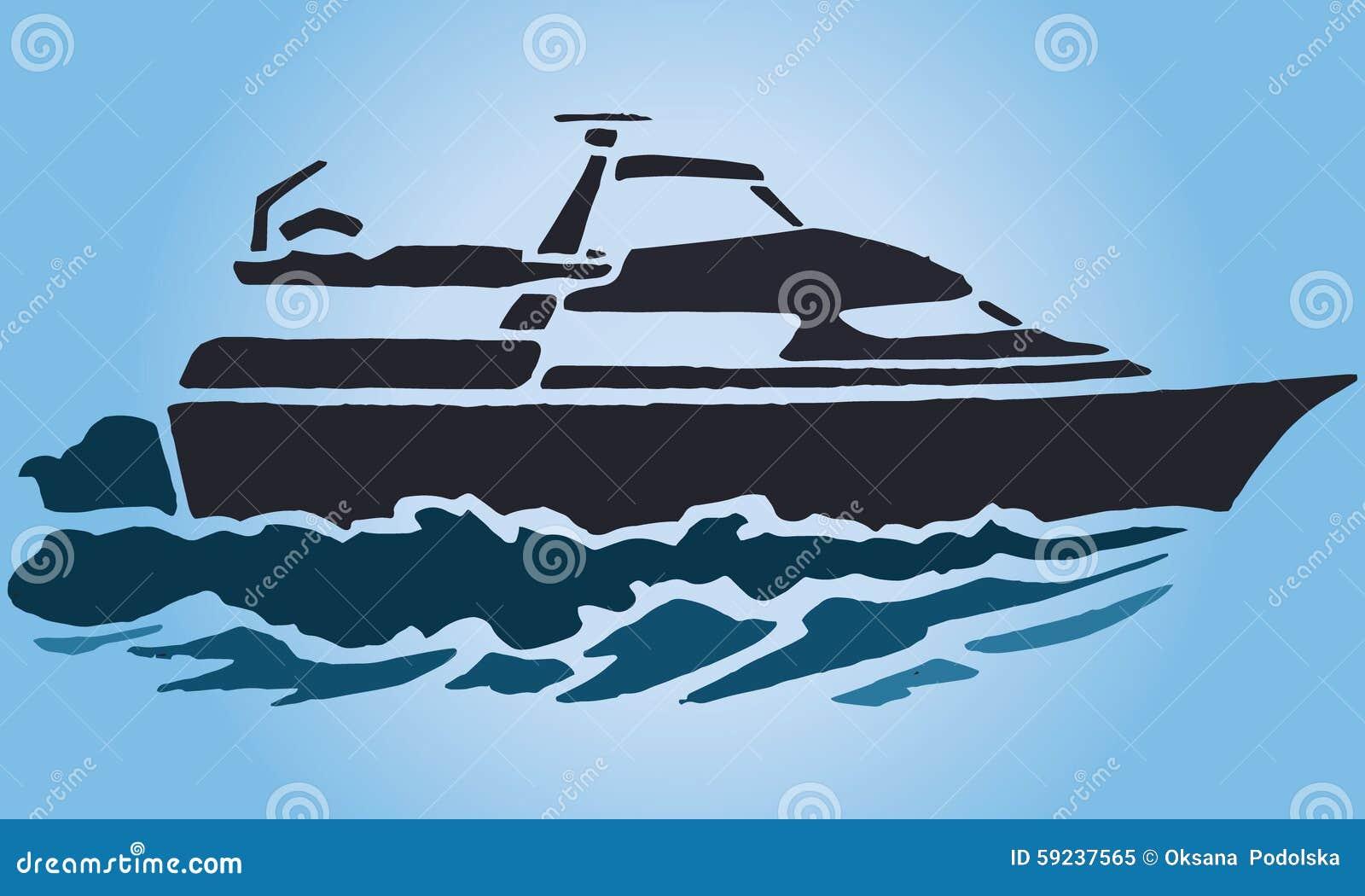 Yate de la plantilla del ejemplo en las ondas