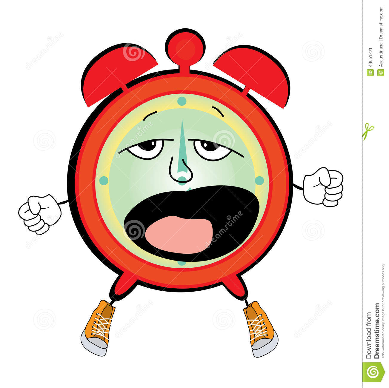 Yawning Alarm Clock Cartoon Stock Illustration - Image: 44051221
