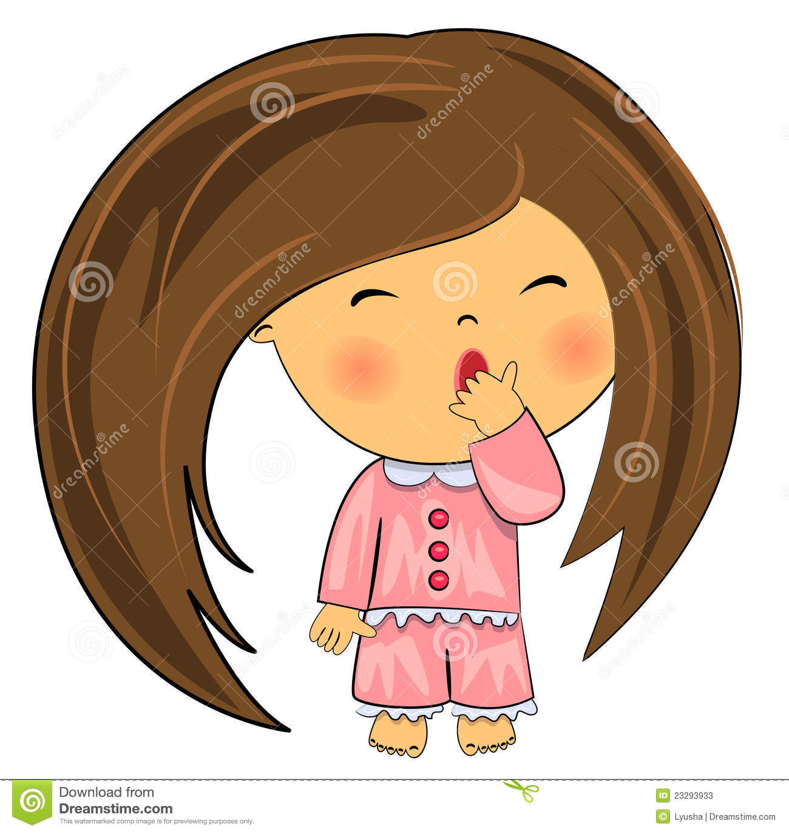 Yawning Kid. Cute Little Girl Stock Photos - Image: 23293933 Yawning Girl Cartoon