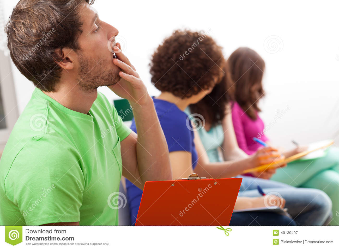 Yawning Student During Lecture Stock Photo - Image: 40139497