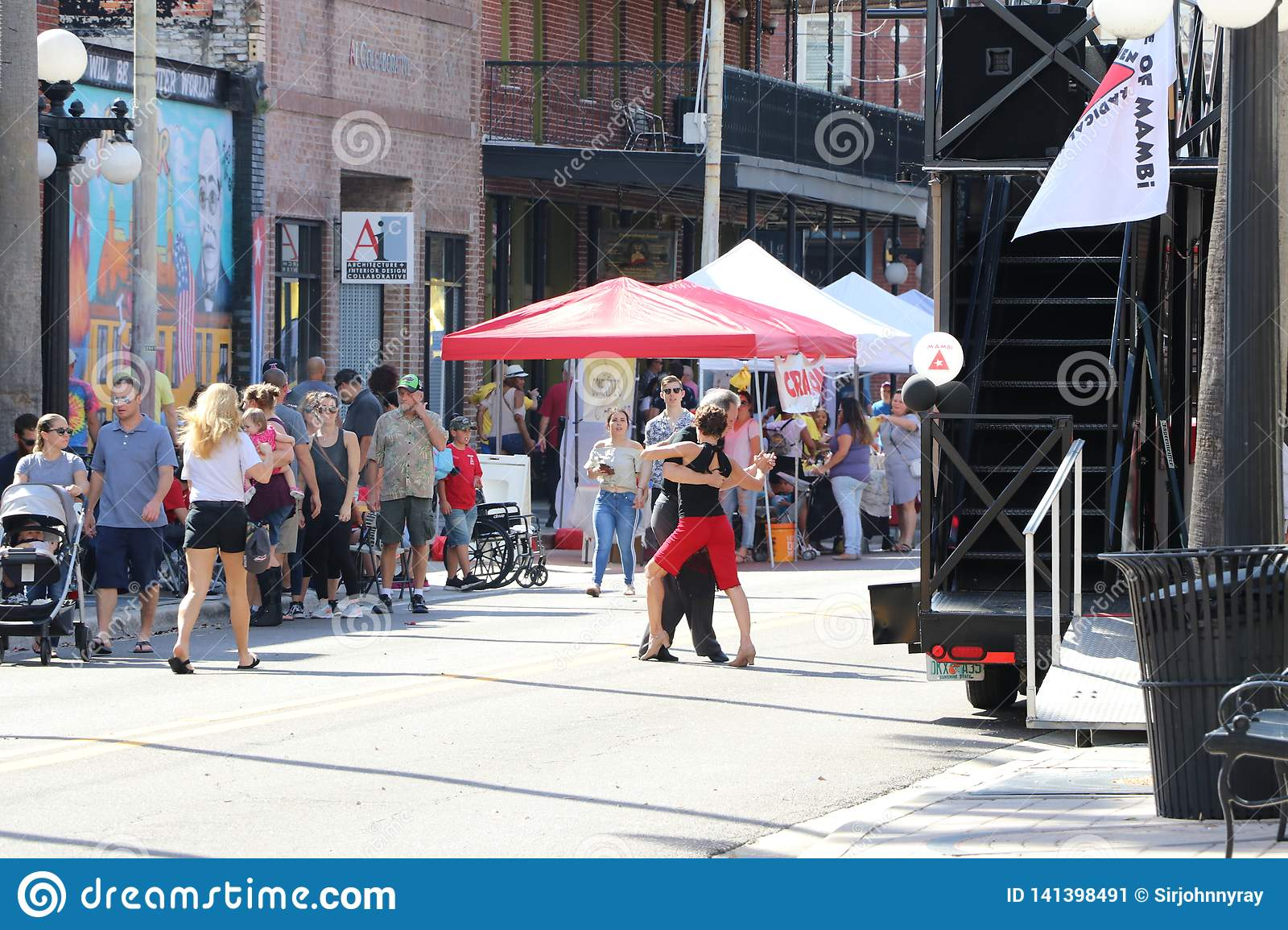 Ybor city historic heritage celebration with tango dancing in the streets