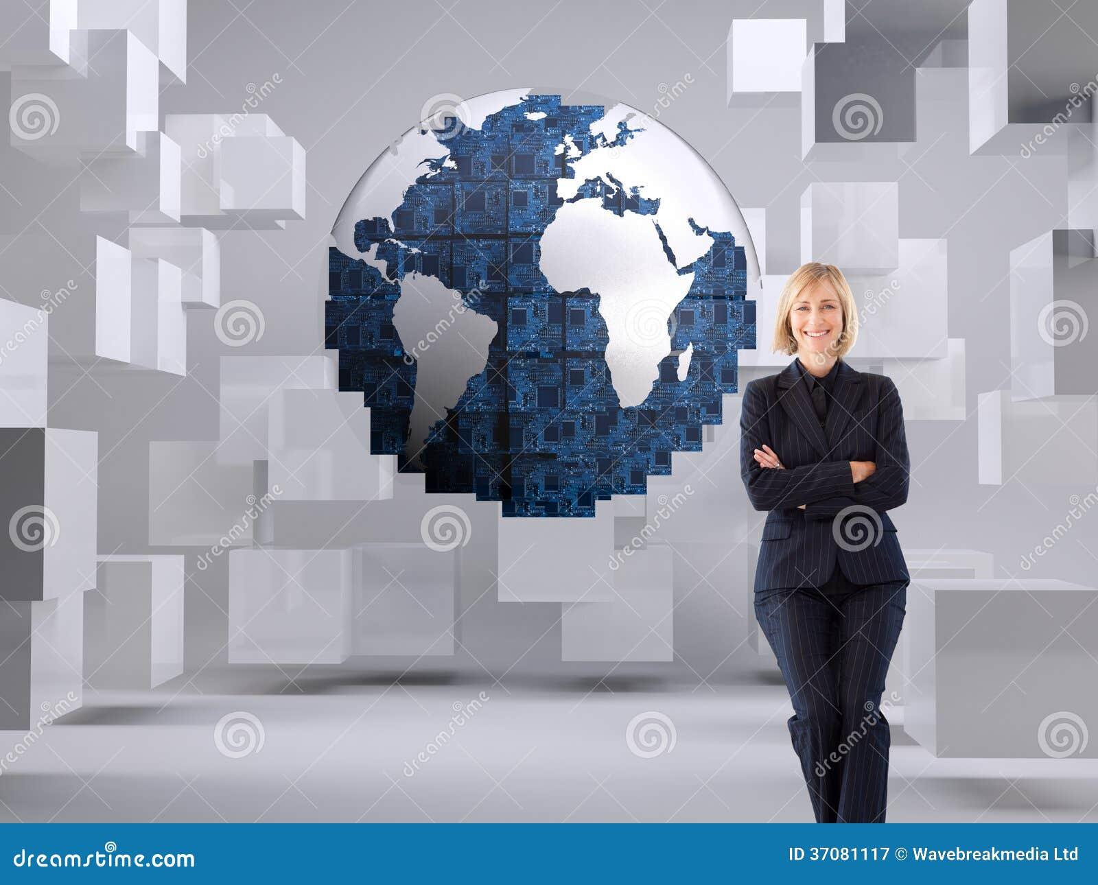 Download Życzliwy Bizneswoman Ono Uśmiecha Się Przy Kamerą W Spotkaniu Ilustracji - Ilustracja złożonej z elegancki, komputer: 37081117
