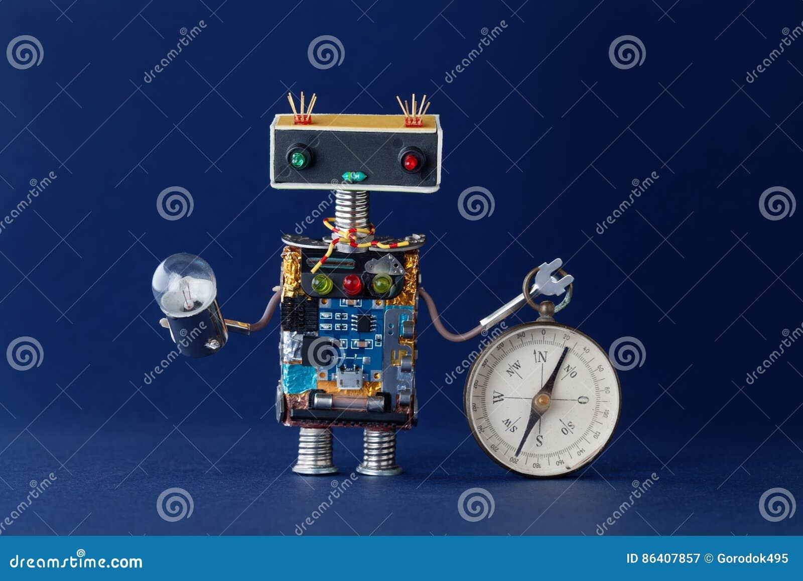 Życzliwy robot z magnesowym eksploracja kompasem i żarówki lampą Żeglować patrzeć dla podróży pojęcia błękitny