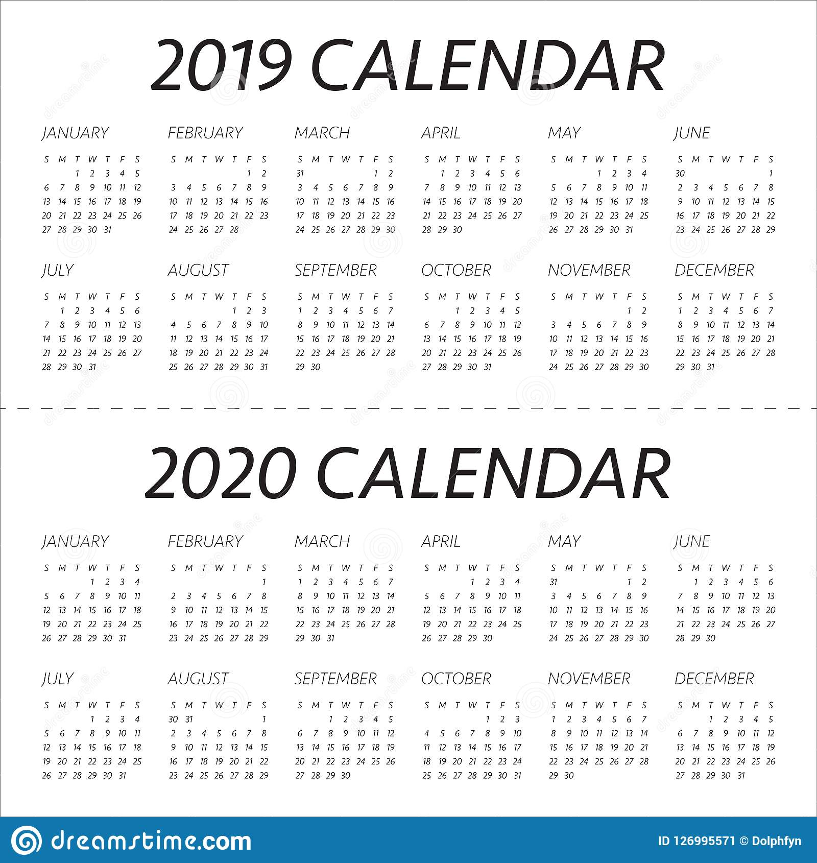 year 2019 2020 calendar vector design template
