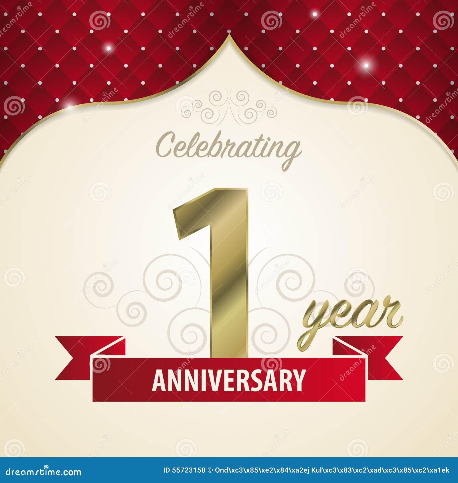 1 Year Anniversary Celebration Golden Style Vector Stock