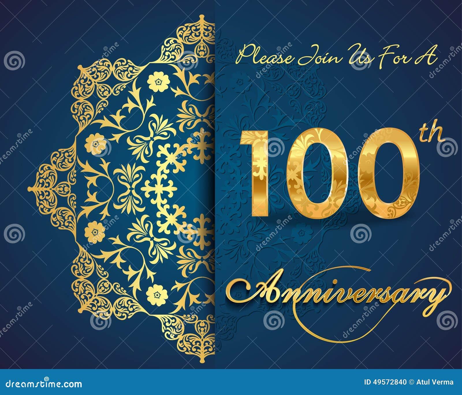 100 Year Anniversary Celebration Pattern Design 100th Anniversary