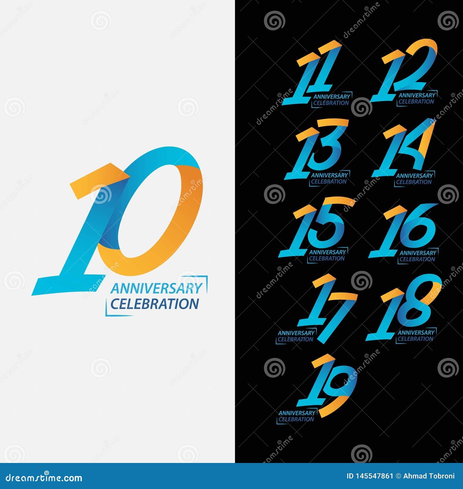 10 Year Anniversary Celebration Set Vector Template Design