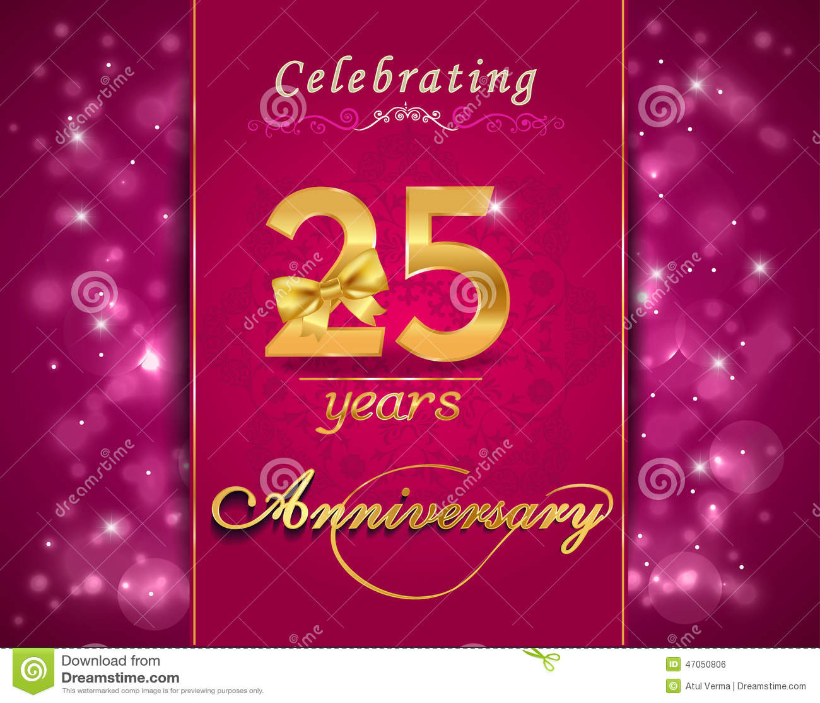 25 Year Anniversary Celebration Sparkling Card, 25th Anniversary ...