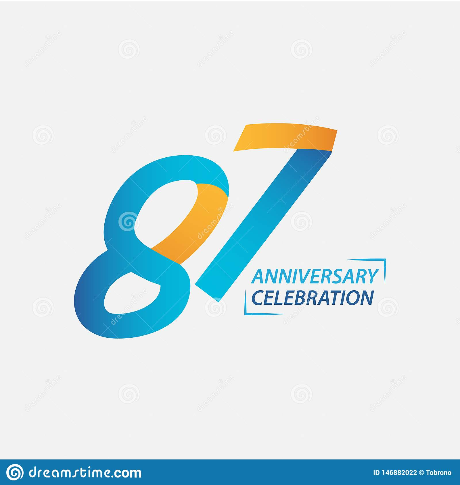 87 Year Anniversary Celebration Vector Template Design Illustration