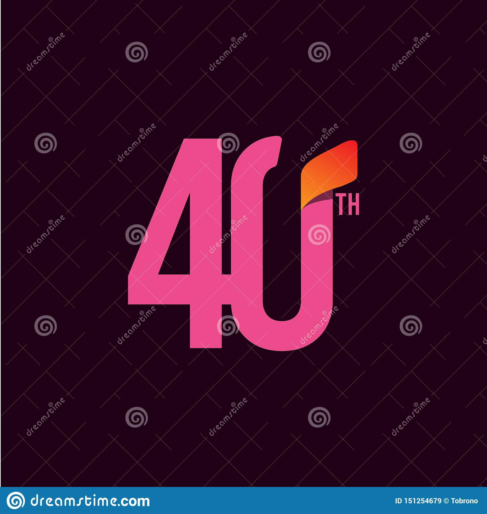 40 Year Anniversary Celebration Vector Template Design Illustration