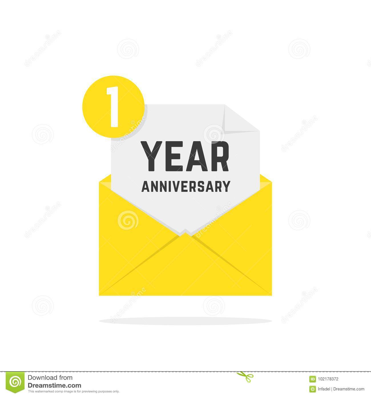 1 Year Anniversary Icon In Yellow Letter Stock Vector - Illustration