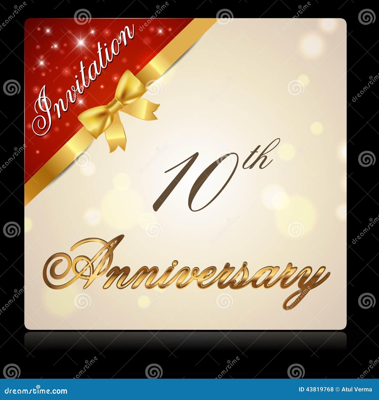 10 year anniversary with ribbon invitation card stock illustration 10 year anniversary with ribbon invitation card biocorpaavc Gallery