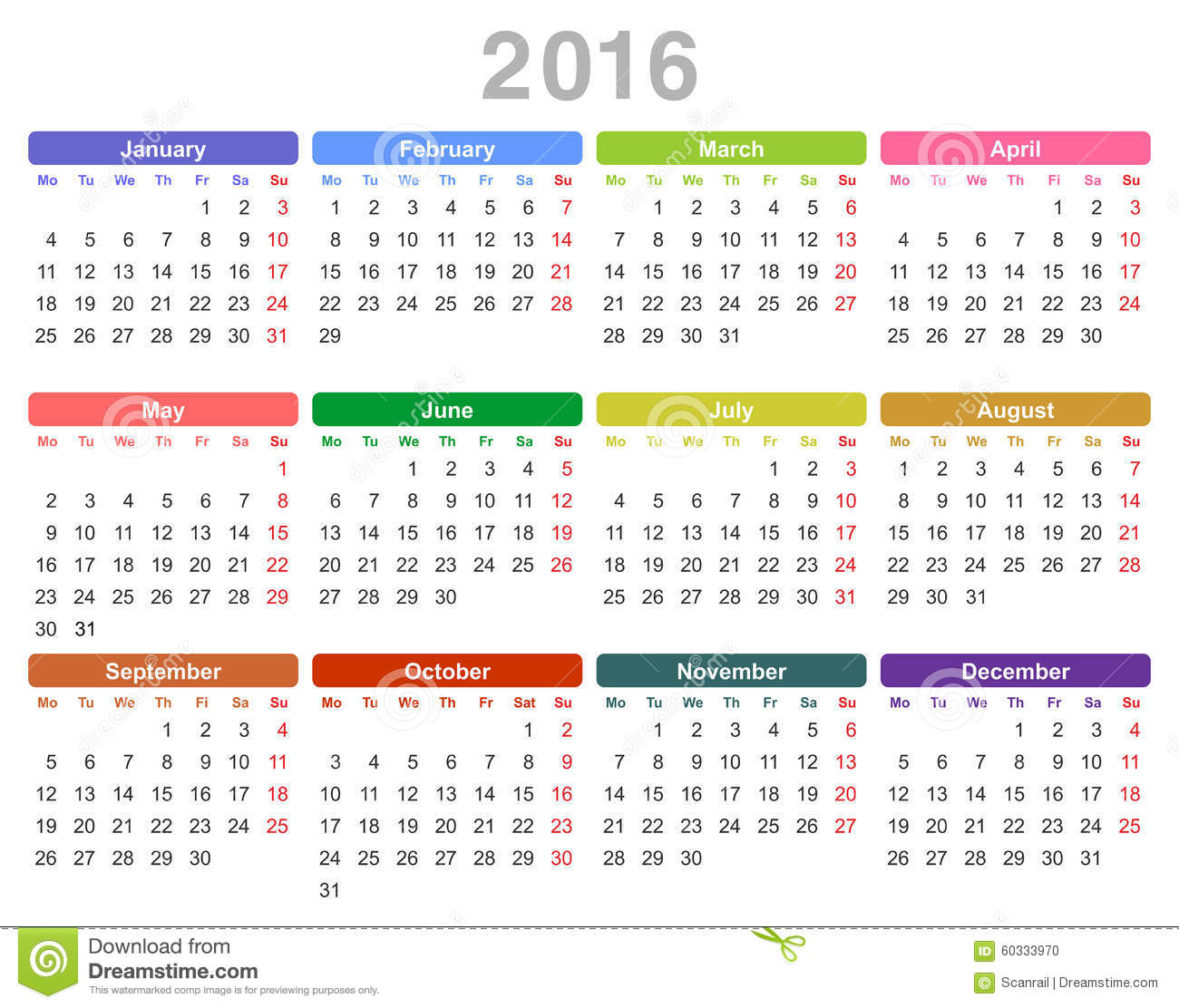 2016 Year Annual Calendar (Monday First, English) Stock Vector - Image ...