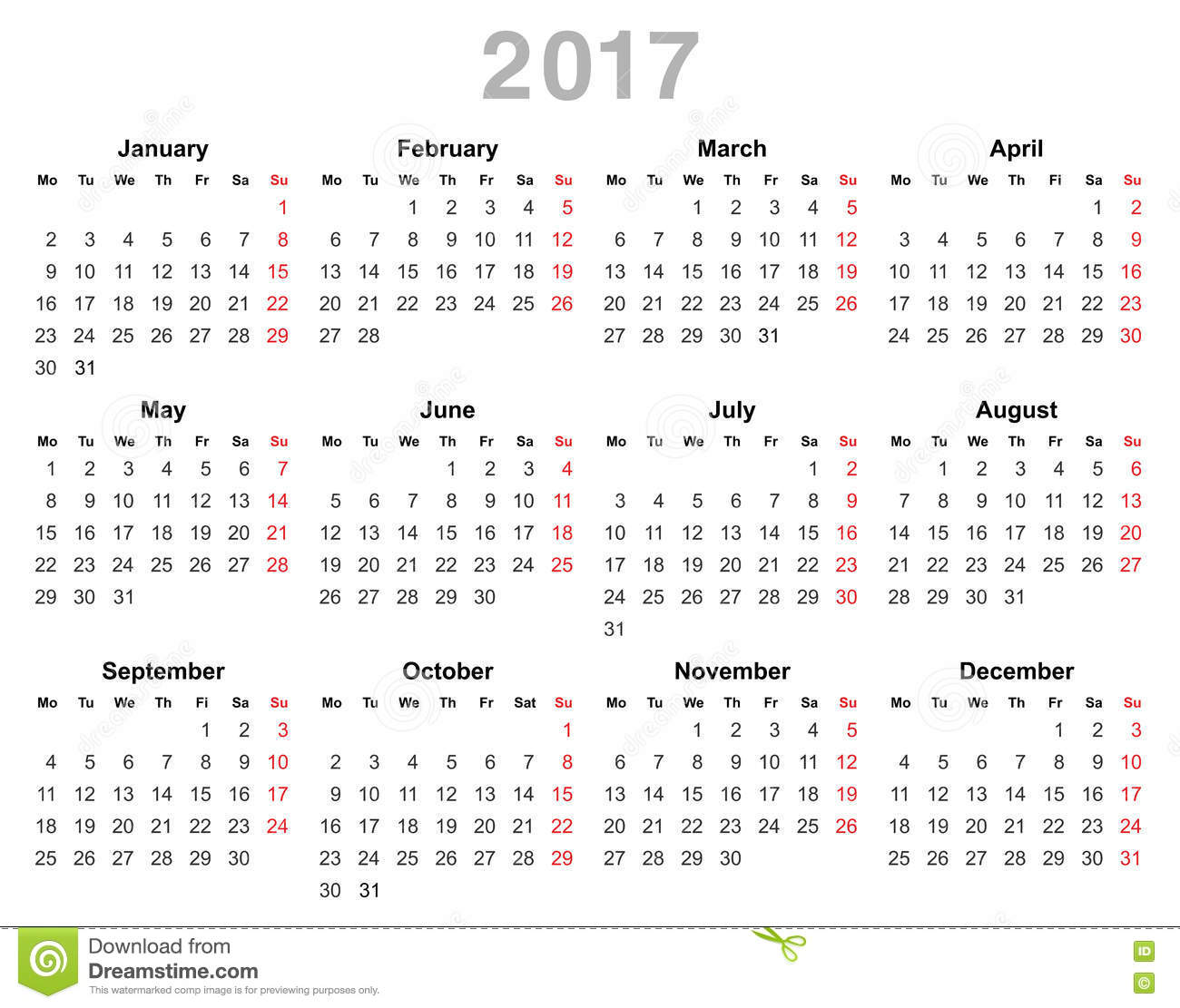 2017 Year Annual Calendar (Monday First, English) Stock Vector ...
