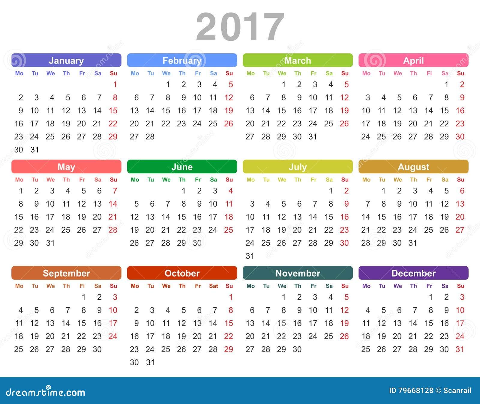 October calendar 2017 monday