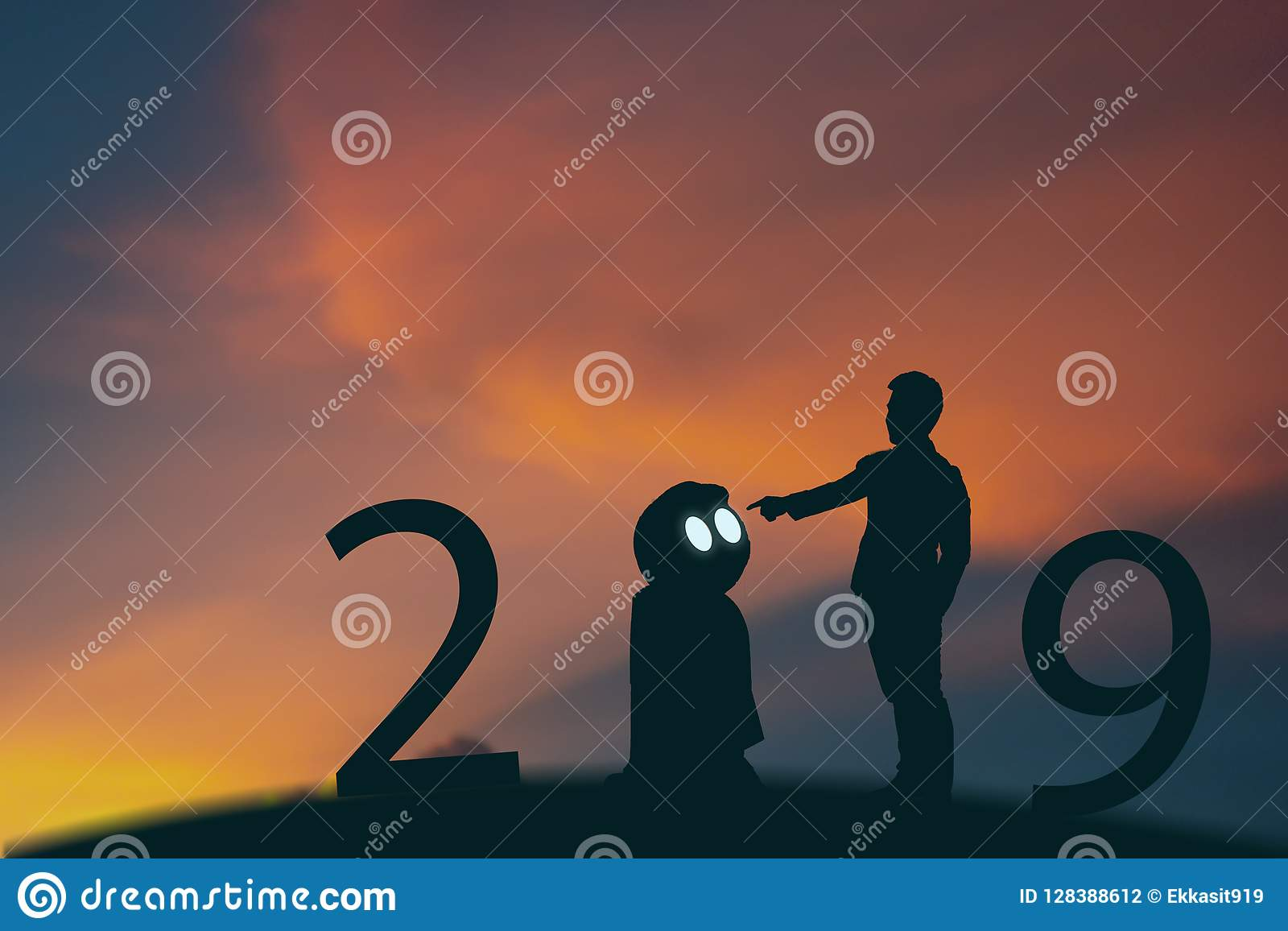 2019 year artificial intelligence or ai futuristic concept, Silhouette Business man stand and point hand to command or control as
