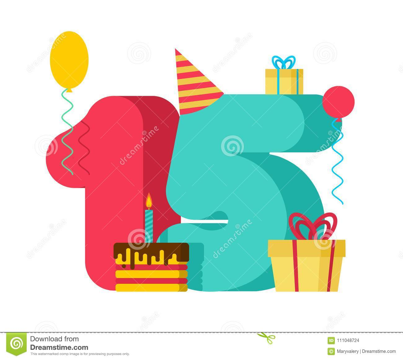 15 year birthday sign 15th template greeting card anniversary c